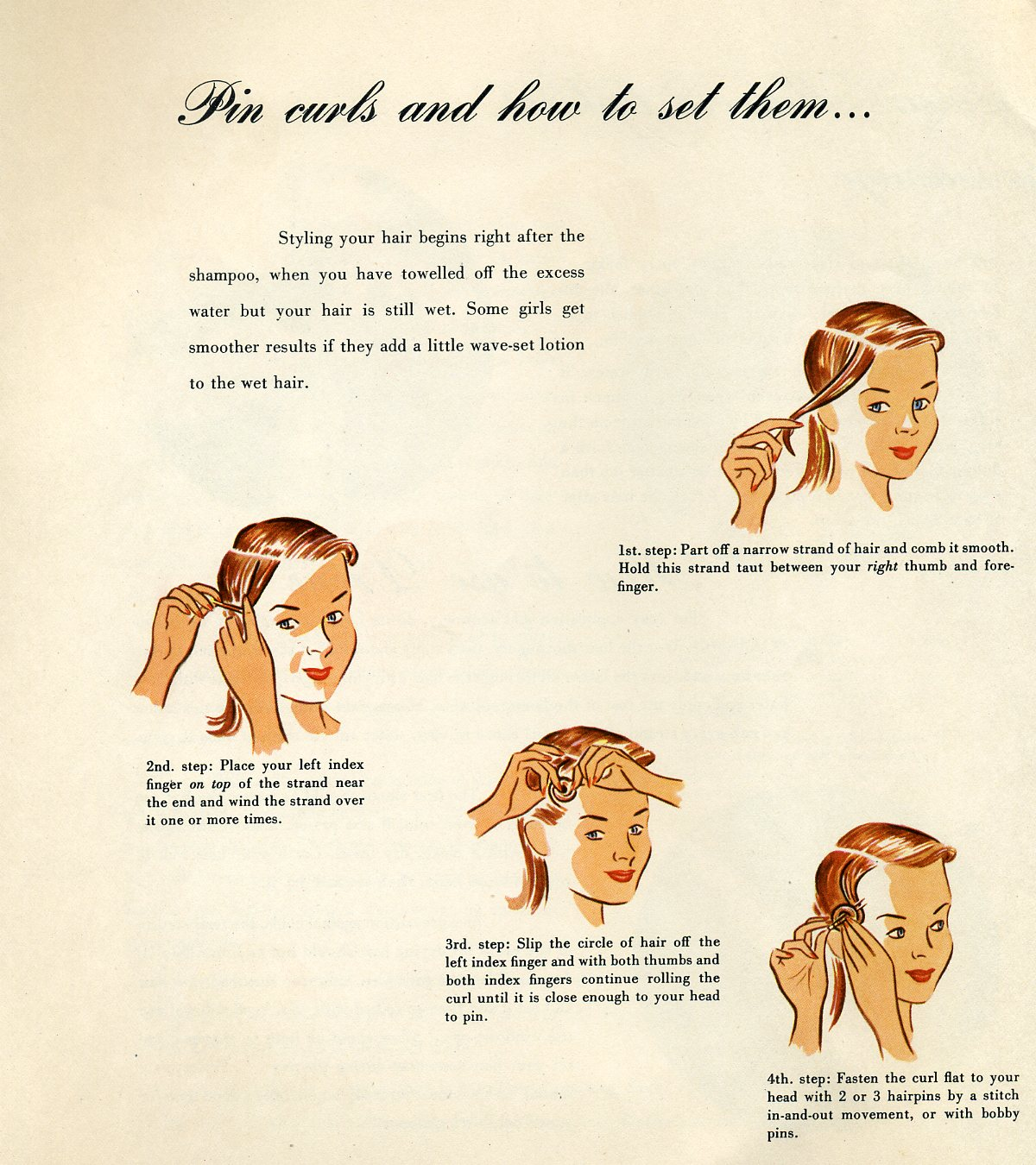 Pin Curls and How to Set Them""